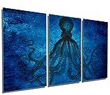 Canvas Quest 60 x 30 Total - Lord Bodner Octopus Triptych Metal Print Wall Art - Blue, 3 Panel Split. Kraken, HD Aluminum Prints