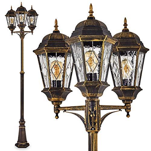 Außenleuchte Hongkong, 3-armig, Kandelaber Braun-Gold, 3 x E27 60 Watt, Gartenbeleuchtung aus Aluguss mit echten Glasscheiben, Laterne für den Aussenbereich, Wegeleuchte Garten, Höhe 220 cm, Vintage