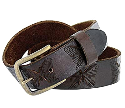 """Full Grain Tooled Leather Butterfly Embossed Casual Belt 1-1/2"""" Wide (Brown, 30)"""