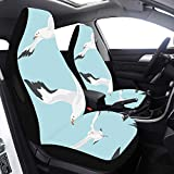 2 piezas Set Sit Car Cover Car Flying Gaviota White Birds In Sky Fundas de asiento Compatible para Airbags Universal Fit para automóviles Camiones y SUV Car Chair Chair Cover