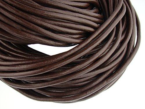 esnado Lederschnur Rund 6 mm. Braun 3 m - Länge/Farbe: wählbar