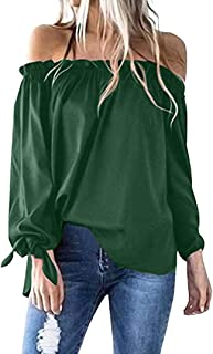 NEARTIME Women Blouse Spring/Autumn Sexy Slash Neck Tops Long Sleeve Cold Shoulder T-Shirt Tunic Tops