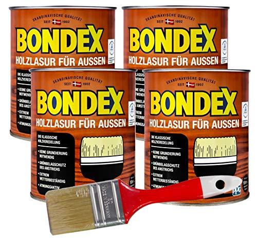Bondex Holzlasur für Aussen 3L inkl. 50mm Pinsel in Kastanie lösemittelhaltige Holschutzlasur mit Intensivschutz vor Nässe und UV-Strahlung für alle Hölzer und Holzbauteile außen