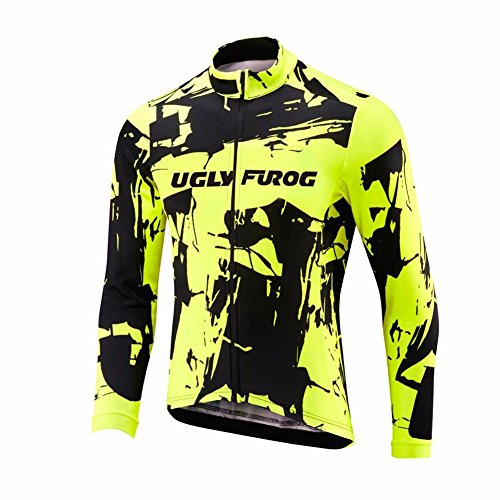Uglyfrog Fahrradbekleidung Herren Lange Ärmel Radsport Winter Fleece Winter Trikots & Shirt Sport & Freizeit Frühjahr Style Full Zipper Mountainbike-Clothes HWM01