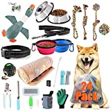 AONESY 24pcs Puppy Essentials Pack Puppy Starter Kit Dog Supplies Assortments Gift Set for Dog Small Dog,Includes:Dog Toys/Dog Bed Blankets/Dog Grooming Tool/Dog Feeding Supplies