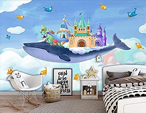 Behang muurschildering muur kunst hand getekend aquarel kasteel walvis 3D zelfklevende PVC muurschildering voedsel en D behang grijs muur Sticker rand woonkamer voor slaapkamer Rose blauwe muurschildering kinderen 400 cm.