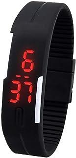 Men's Women's Silicone Red LED Touch Digital Wrist Watch Bracelet Black