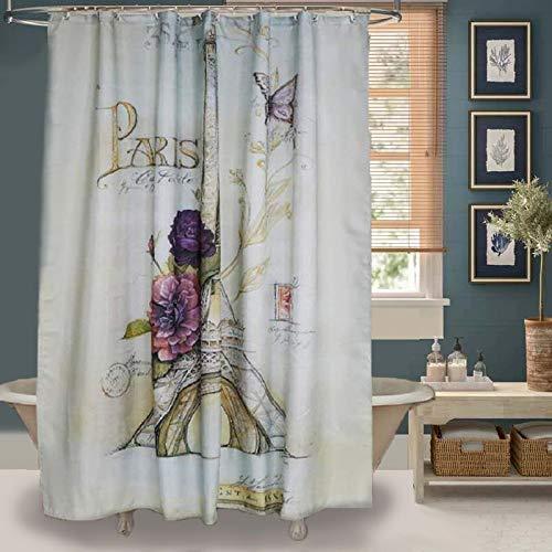 Uphome Paris Fabric Shower Curtain Heavy Duty Cream Eiffel Tower Bathroom With Bluish