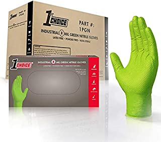 1st Choice Industrial 8 Mil Green Nitrile Gloves - Latex Free, Powder Free, Non-Sterile, Large, Box of 100, Pack of 4