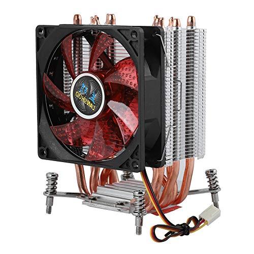 6 Heatpipe CPU Cooler, 2200RPM Disipación de Calor rápida PC Radiat Fan, 22dBA Presión hidráulica Super Silent CPU Heatsink(luz roja #7)