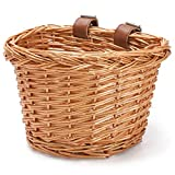 HILAND DRBIKE - Cesta colgante para manillar de bicicleta para niños y niñas, accesorio para bicicleta infantil, cesta de mimbre hecha a mano respetuosa con el medio ambiente