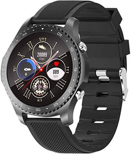 Reloj inteligente con termómetro de temperatura corporal, llamada Bluetooth, frecuencia cardíaca, sueño, Spo2, monitor de presión arterial, datos deportivos, fitness, color negro
