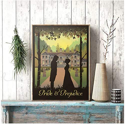 Orgullo y prejuicio Libro y póster de película Impresiones Jane Austen Regalos Vintage Wall Art Picture Home Room Decoración de Pared -20x28 IN Sin Marco