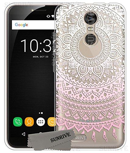 Sunrive Für OUKITEL C8 Hülle Silikon, Transparent Handyhülle Schutzhülle Etui Hülle Backcover für OUKITEL C8(TPU Blume rosa)+Gratis Universal Eingabestift