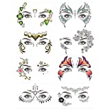 8 Pack Face Temporary Tattoo Waterproof Makeup Tattoo Stickers on Face Eye Forehead Body for Halloween Christmas Stage Masquerade Party