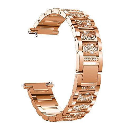 Correa para Fitbit Versa para Mujeres,jgashf Reloj Reemplazo Manera Pulsera de Banda Acero Inoxidable Metal Bling con Diamantes para Fitbit Versa