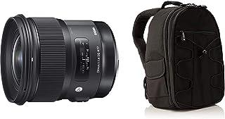 Sigma 24 mm/F 1.4 DG HSM Art - Objetivo para Canon Color Negro + AmazonBasics - Mochila para cámara réflex y Accesorios Color Negro