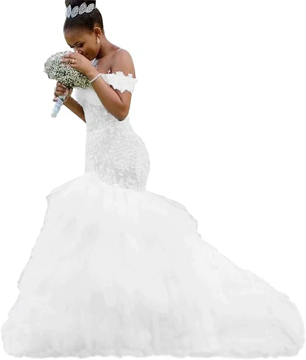 Yuxin Modest Mermaid Wedding Dresses Off Ruffles Shoulder Popular Ranking TOP5 brand 2021 T