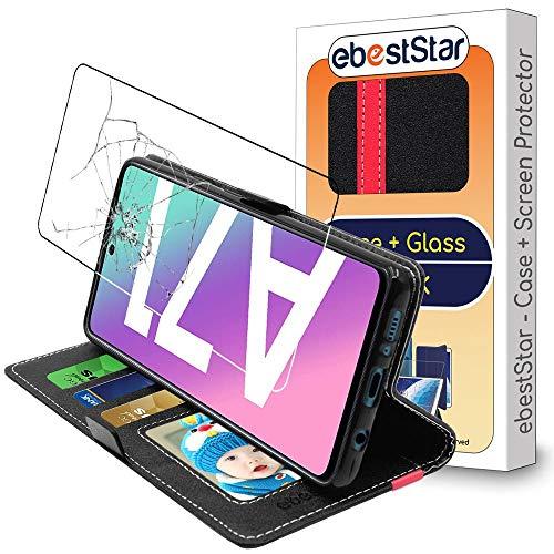 ebestStar - kompatibel mit Samsung Galaxy A71 Hülle SM-A715F Kunstleder Wallet Hülle Handyhülle [PU Leder], Kartenfächern, Schwarz/Rot +Panzerglas Schutzfolie [A71: 163.6 x 76 x 7.7mm, 6.7'']