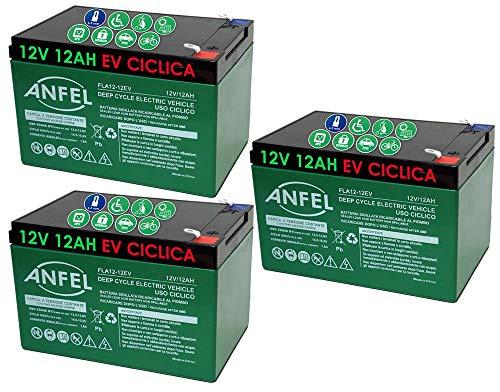 ANFEL Kit 3 BATTERIE al Piombo Ricaricabile 12V 36V 12AH CICLICA Batteria Uso CICLICO per Bici Biciclette ELETTRICHE MONOPATTINI Quad ELETTRICI TRAZIONE ELETTRICA FASTON 6,35mm Deep Cycle 6-DZM-12