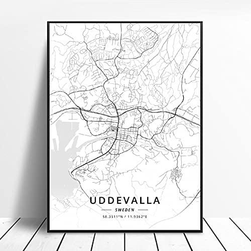 Falun Varberg Skovde Uddevalla Norrkoping Boras Sweden Canvas Art Map Poster ?ZW-484? Ingen ram poster 40x60cm