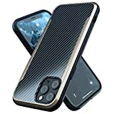 Nicexx Designed for iPhone 12 Case/Designed for iPhone 12 Pro Case with Carbon Fiber Pattern, 12ft. Drop Tested, Wireless Charging Compatible - Gold