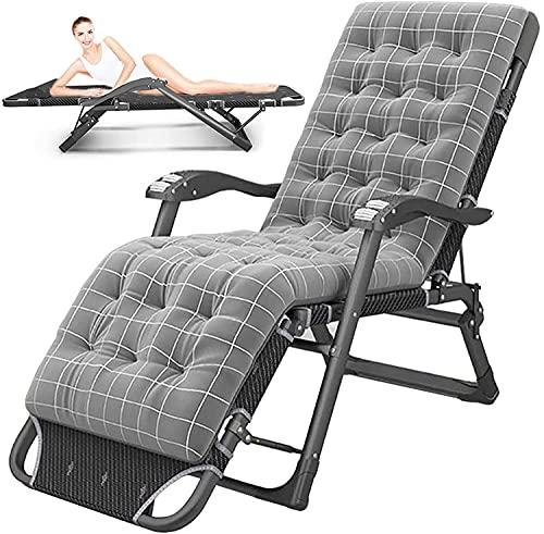 JAKWBR Tumbonas para patio o tumbonas reclinables al aire libre, resistente a gravedad cero, silla de jardín de gran tamaño, silla de playa, con cojín desmontable para silla de jardín, color gris