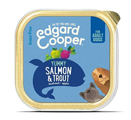 Edgard & Cooper comida humeda perros adultos sin cereales, natural con salmón y trucha. Alimentación balanceada con Omega 3 para un pelaje suave y brillante Carne 100{73b0b186091aa9d4ac2e3056d5e914e919d1ca5d7dfc13f867637bc4b7e199c3} fresca en paté. Pack de 11x150gr
