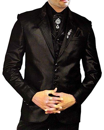INMONARCH Partie 8 l'usure Concepteur pc Noir Tuxedo - Costume de Mariage TX102R36 46 Or S (Hauteur 171 cm a 180 cm) Noir