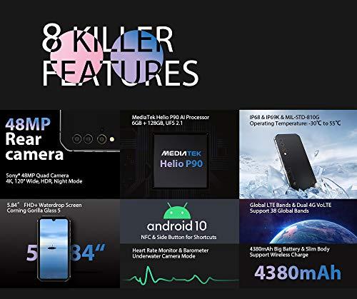 Móvil Resistente Blackview BV9900E, Android 10 Helio P90 6GB RAM 128GB ROM, Cámara Quad AI 48MP, Telefono Robusto Antigolpes IP68, 5.84 '' FHD + Gorilla Glass 5, Carga Inalámbrica NFC Dual SIM Negro