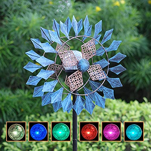 TOMBABY 75in Height Solar Azure Wind Spinner with Glass Ball Color Changing Seasonal LED...