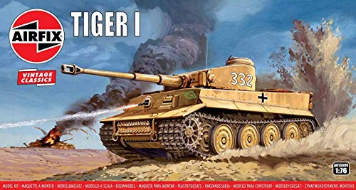 Airfix Vintage Classics Tiger I Tank 1:76 WWII Military Ground Vehicle Plastic Model Kit A01308V