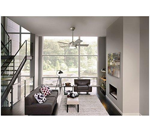 """Kichler 330174NBR, Starkk LED Natural Brass 52"""" Ceiling Fan with Light"""