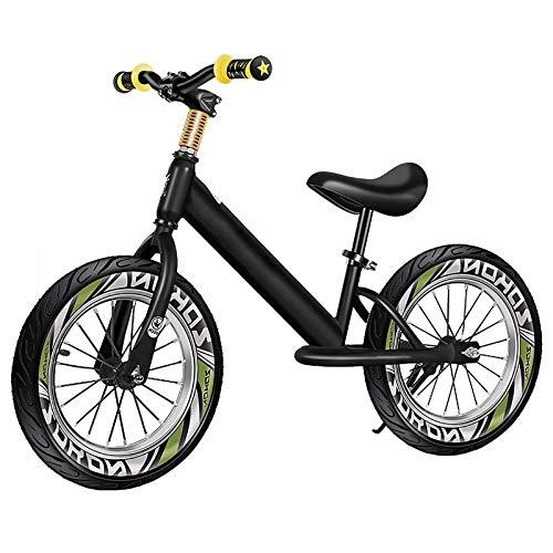 HWF Bicicleta sin Pedales Niño Grande Bicicleta de Equilibrio con Ruedas de Goma de 16 Pulgadas, Aluminio Ligero Sin Pedal Bicicletas para Caminar para Altura 118-150cm, 8-12 años (Color : Black)