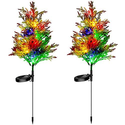 Solar Garden Lights Tree Outdoor,2P Multi-Color Solar Christmas Tree Lights,Solar Pathway Lights,29.1' Lawn Flickering Pine Lights Solar Christmas Lights Outdoor Waterproof for Yard Decorations (2PCS)