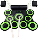BONROB Electronic Drum Set,Drum Pad Support Roland Games Foldable Roll Up Drum Kit