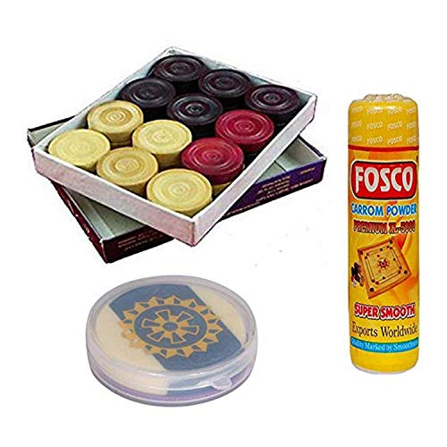 Metallic India Carrom Combo 70 g Disco Carrom-Pulver 1 Set Holz Carrom-Men Münzen & 1 Acryl Striker