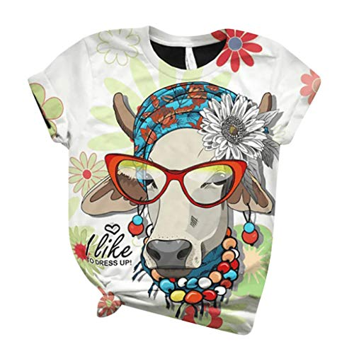 MEITING Kurzarm Pullover Damen T-Shirt Rundhals Loose Große Größe Sweatshirt mit Tier Gedrucktes Hemd Mode Kurzarm Pullover Mädchen Teenager Frauen Bluse Summer Casual Tops Tuniken Shirt