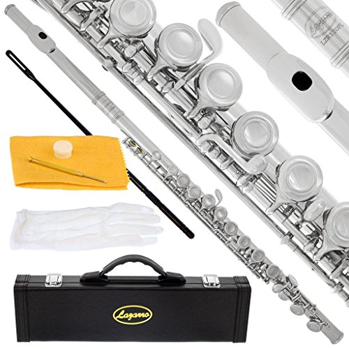 Lazarro Professional Silver Nickel Closed Hole C Flute for Band, Orchestra, with Case, Care Kit and Warranty, 120-NK