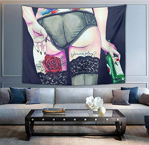 NiYoung Sexy Women Girl Butt Parrot Red Rose Tattoo Tapestry Wall Hanging Tapestries Indian Hippy Bohemian Mandala Tapestry Home Decorations Art for Bedroom Living Room Dorm 50x60 Inches