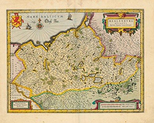 Historische Landkarte: Herzogtum Mecklenburg - 1647 (Plano)