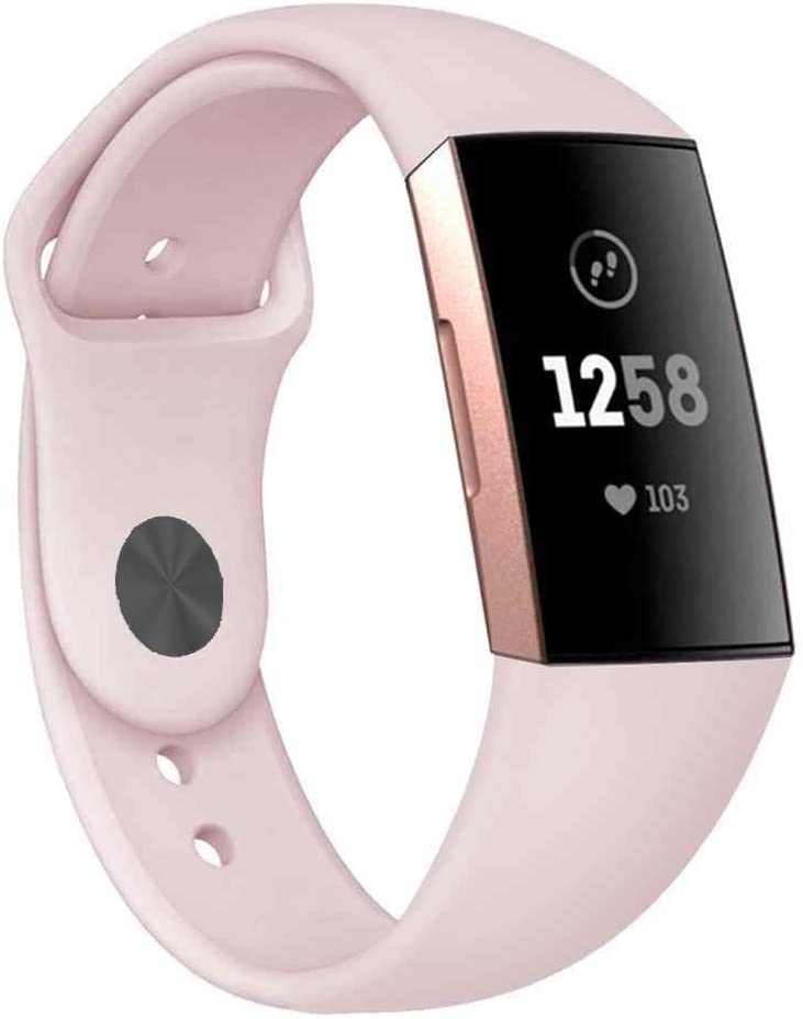 CyberDig Silicone Sports Replacement Bands Compatible with Fitbit Charge 3, 3 SE, 4, and 4 SE (Small, Baby Pink with Black Buckle)