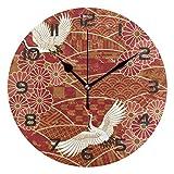 Meili Shop Grúa Japonesa Reloj de Pared Decorativo Relojes Redondos Decoración de Arte Dormitorio Sala de Estar Cocina Baño Oficina Oficina Escuela