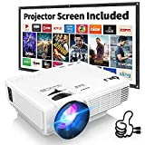 DRJ Professional 7500Lumens Mini Projector with 100Inch Projector Screen, Full HD 1080P 170' Display Supported, PS4,TV Stick, Smartphone, USB, SD Card Supported, Great for Home Theater Movies