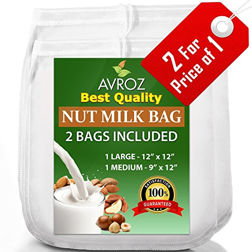 My Best Nut Milk Bag 2 Pack With Recipe Book | Food Grade Nylon Mesh...