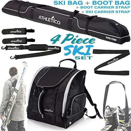 Athletico Diamond Trail Padded Ski Bag Bundle - Ski Bag + Ski Boot Bag + Ski Boot Strap + Ski Carrier (170cm)