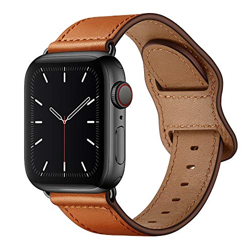 KYISGOS Compatible with iWatch Band 44mm 42mm 40mm 38mm, Genuine Leather Replacement Band Strap Compatible with Apple Watch SE Series 6 5 4 3 2 1 (Brown/Black, 44mm/42mm)
