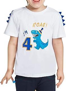 Maglietta a Maniche Corte con Dinosauro per Bambini dai 2 ai 7 Anni Rebavl