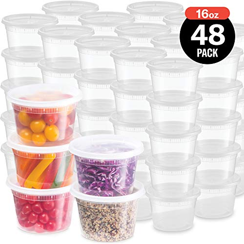 Plastic Deli Food Storage Containers With LeakProof Lids 48 Pack 16 Oz | Microwaveable Airtight Container For Soups Snacks Meal Prep Salad Ice Cream | BPAFree Kitchen amp Restaurant Supplies 48