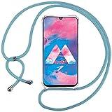 Ingen Funda con Cuerda para Samsung Galaxy M30/A40S- Carcasa Transparente TPU Suave Silicona Case con Colgante-Azul Claro